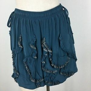 Rebecca Taylor NWT Boho Beaded Mini Silk Skirt